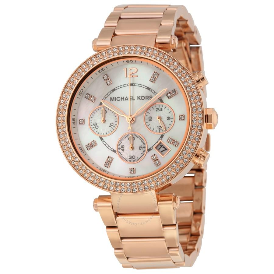 ec64dd031a693 Michael Kors Parker Chronograph Rose Gold-tone Ladies Watch MK5491 ...