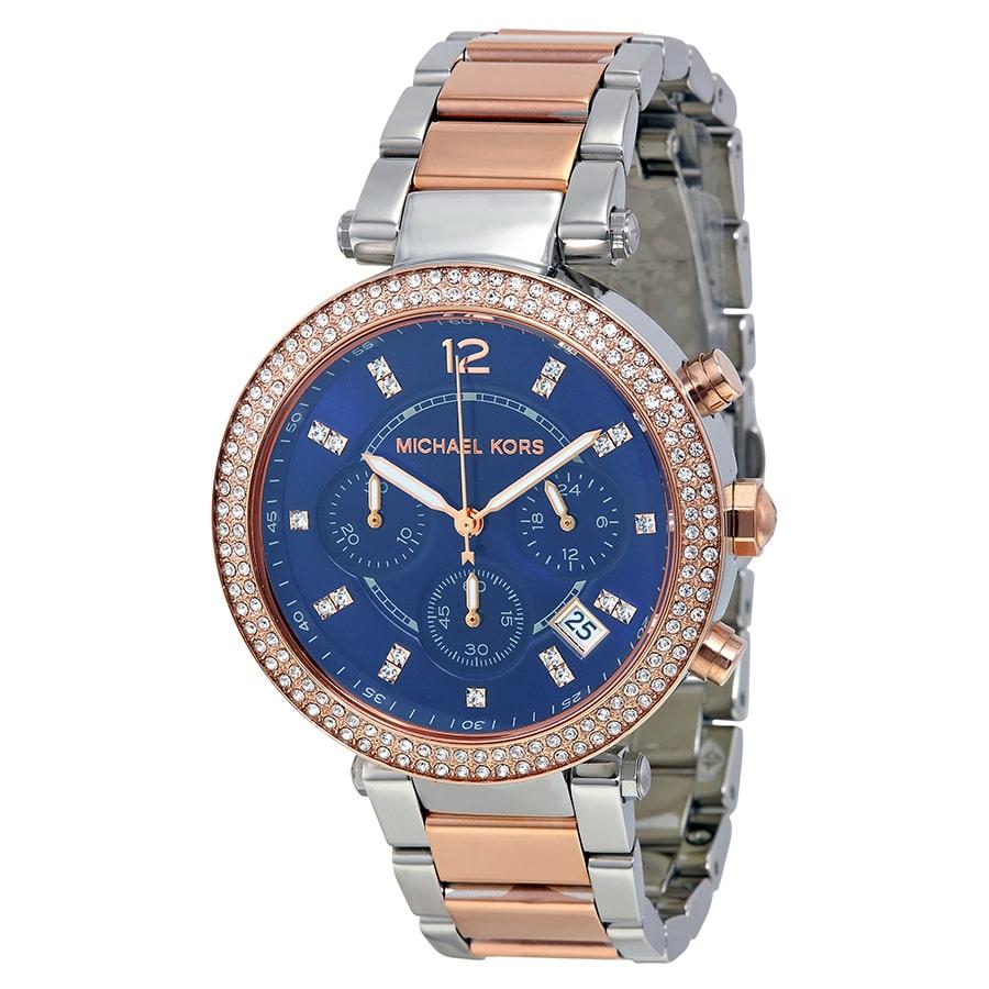 cf907ba6ec31 Michael Kors Parker Chronograph Blue Dial Two-tone Ladies Watch ...