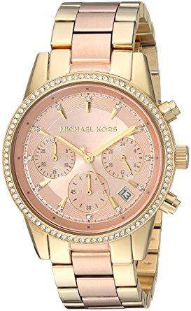 87f39618e519 Michael Kors Ritz Rose Gold Dial Ladies Chronograph Watch