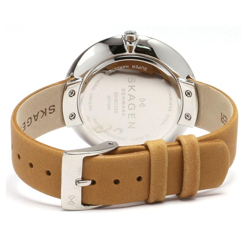 Skagen Gitte Silver Dial Light Brown Leather Strap Ladies Watch ... 99cf9f1303