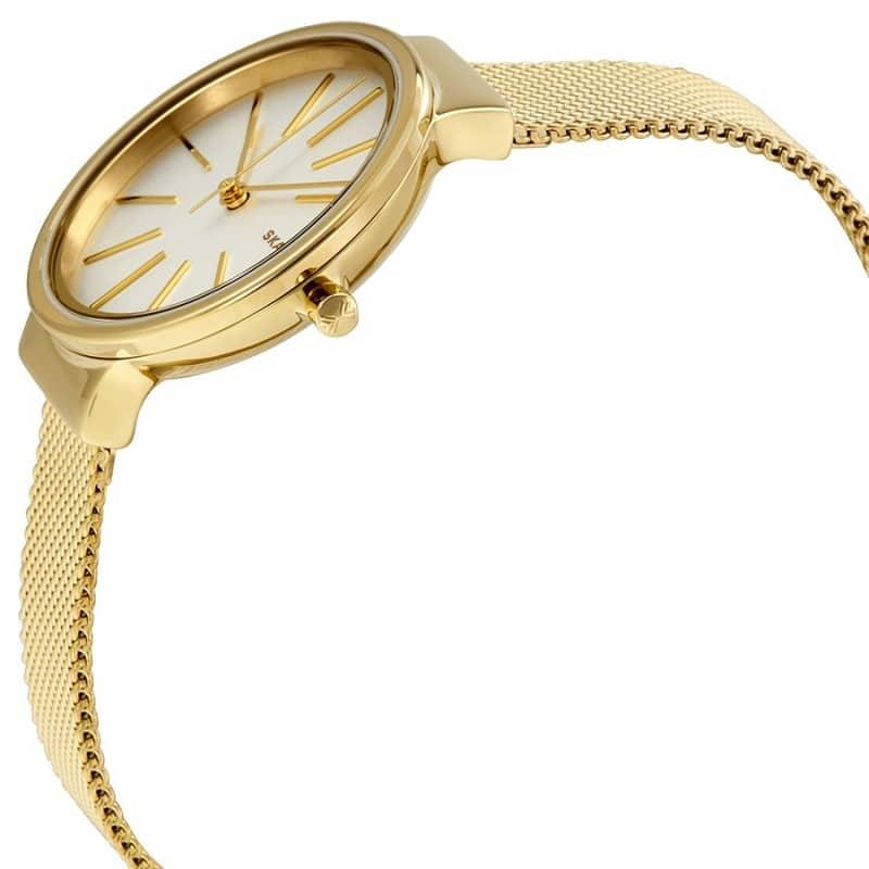 0fcf847177e7 Skagen Ancher White Dial Ladies Gold Tone Mesh Watch
