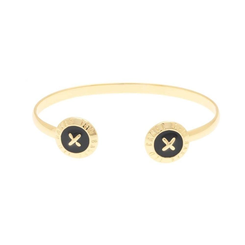 39ab47388ea6 Ted Baker Eida Enamel Double Button Cuff Gold Bangle