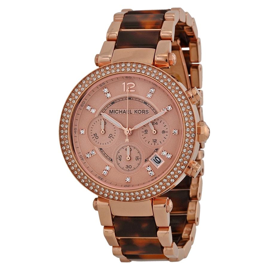 1b6d51ccc8ac Michael Kors Parker Chronograph Rose Dial Ladies Watch MK5538 ...